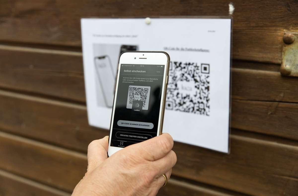 Die App generiert einen QR-Code, der eingescannt wird. Foto: /Stefanie Schlecht
