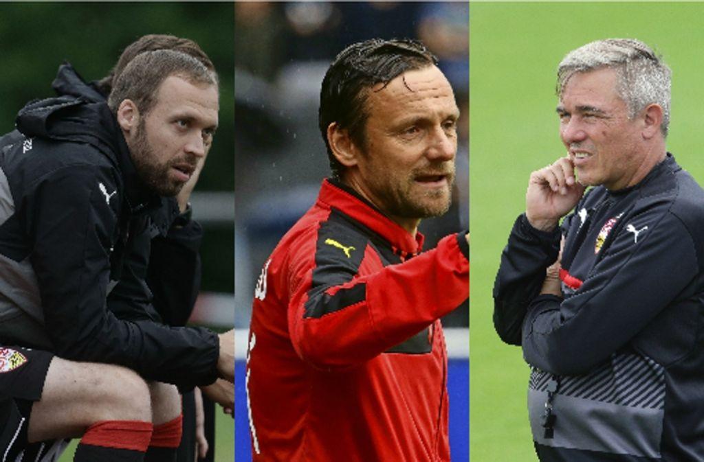 Andreas Hinkel, Heiko Gerber und Olaf Janßen (von links) übernehmen übergangsweise den Trainerjob beim VfB Stuttgart. Foto: Pressefoto Baumann