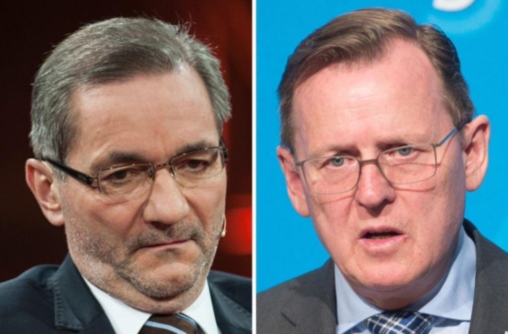 Matthias Platzeck (links) will ruhig und verschwiegen schlichten – Bodo Ramelow hat sich mit deutlicher Kritik an Bahn und Bundesregierung in die neue Rolle eingeführt. Foto: