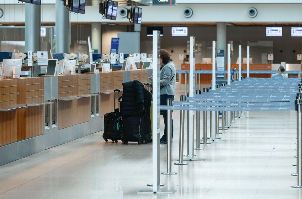 An den Flughäfen gibt es für Angestellt im öffentlichen Dienst derzeit wenig zu tun. Foto: dpa/Markus Scholz