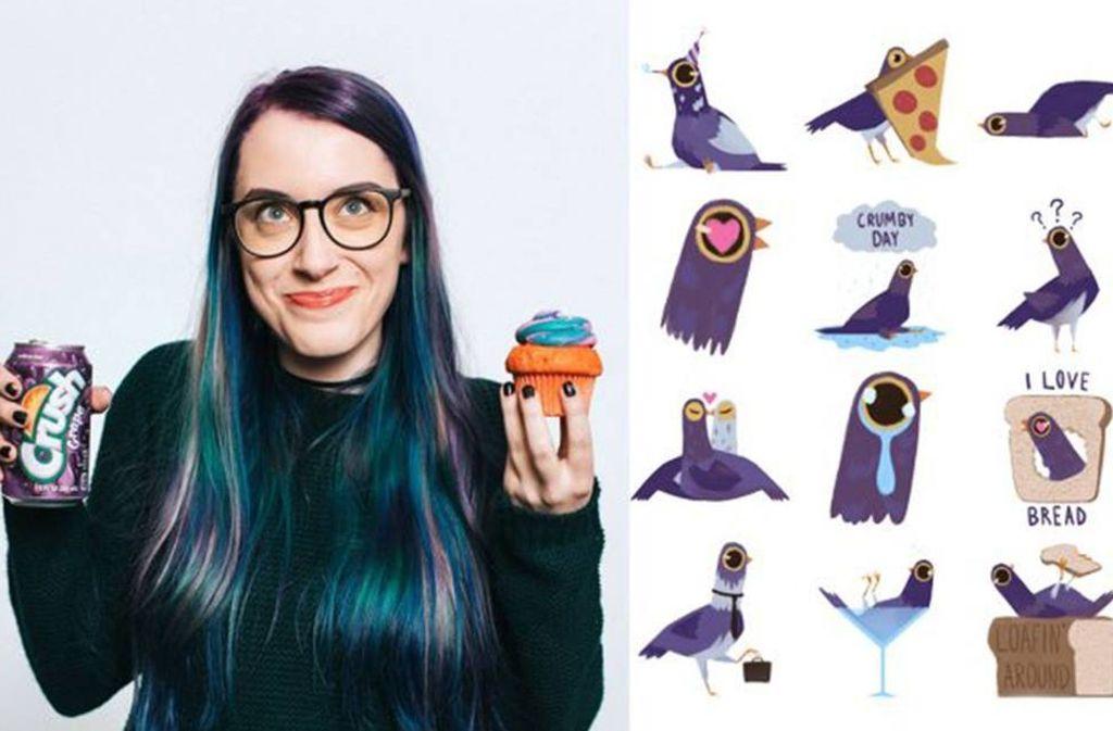"""Die Künstlerin Syd Weiler aus Florida hat mit ihren """"Trash Doves""""-Stickern für Facebook einen neuen Internethype ausgelöst. Foto: Facebook/Syd Weiler"""