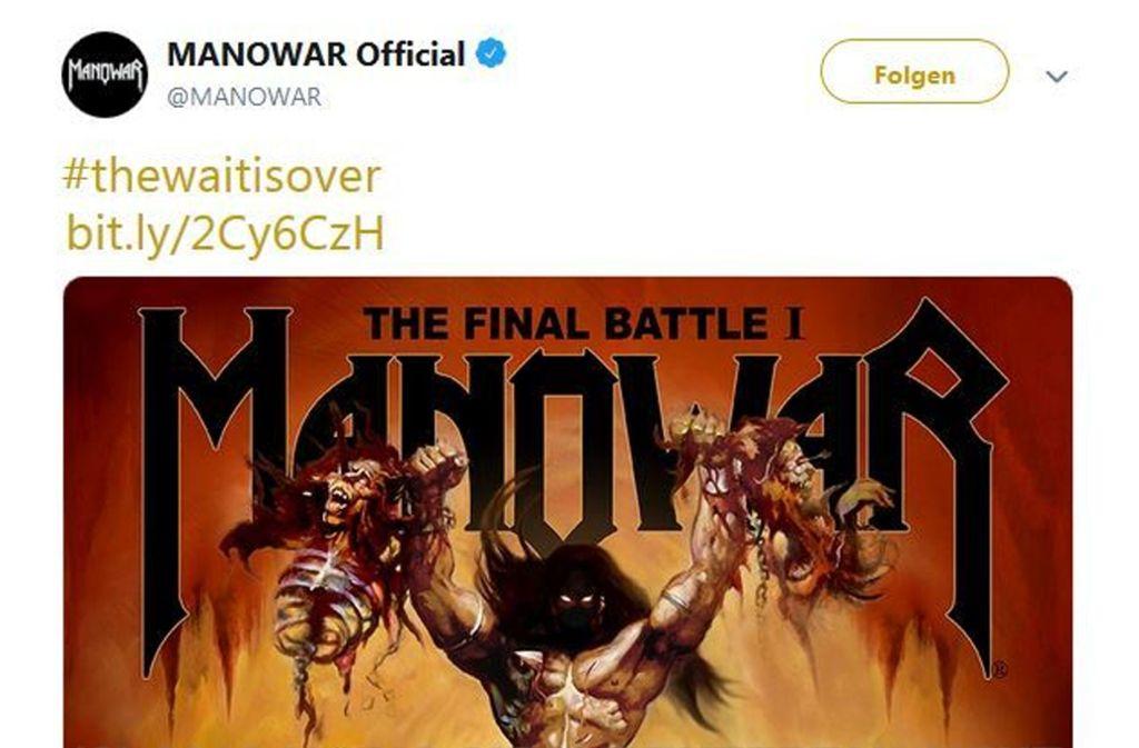 Im März hatten Manowar das neue Album angekündigt – nun waren sie zu Gast in der Stuttgarter Schleyerhalle. Fotografen waren dort allerdings nicht zugelassen. Foto: Twitter/Manowar