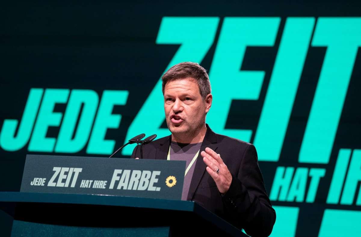 Robert Habeck beim Bundesparteitag der Grünen im November Foto: dpa/Kay Nietfeld