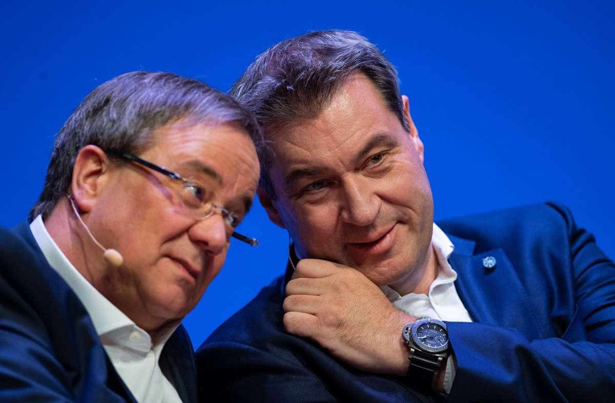 """Über sein Verhältnis zu Söder sagte Laschet: """"Wir kennen, wir durchschauen und wir schätzen uns."""" Foto: dpa/Guido Kirchner"""