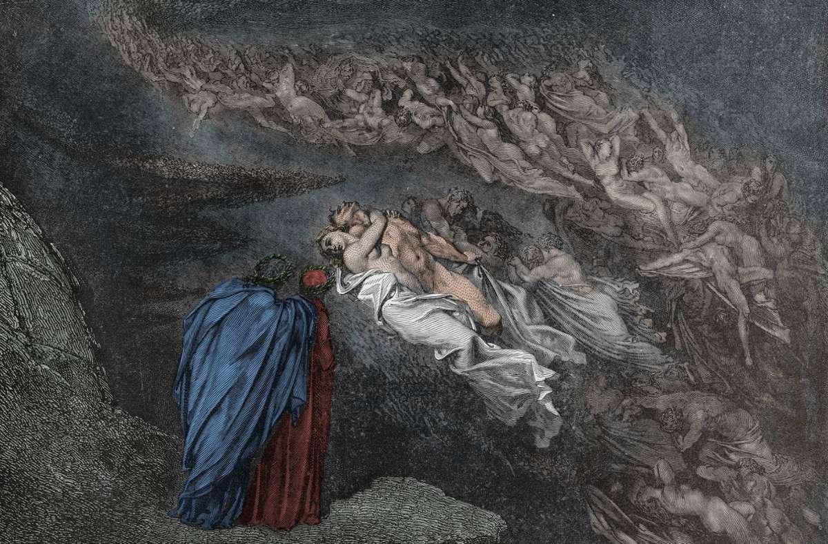 Schatten früherer Leibesfreuden begegnen Dante im zweiten Höllenkreis. Illustration von Gustave Doré. Foto: imago/Leemage/imago stock&people