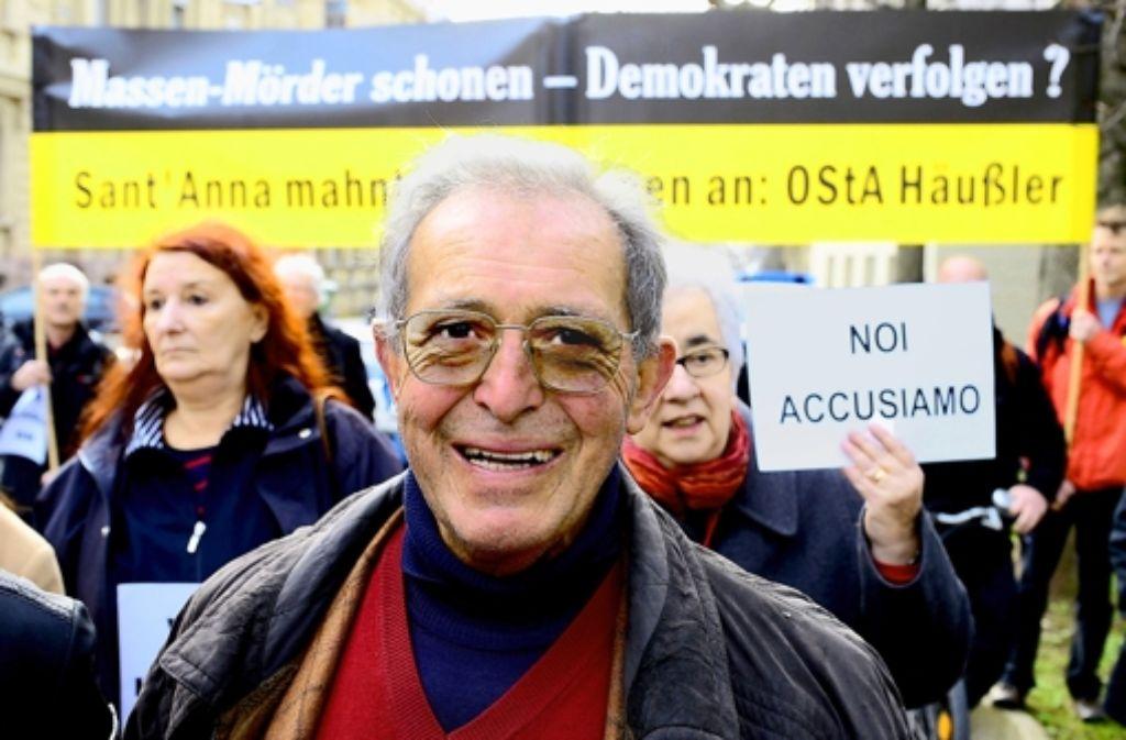 Der Überlebende des Massakers Enrico Pieri bei seinem Besuch in Stuttgart im Januar Foto: dpa