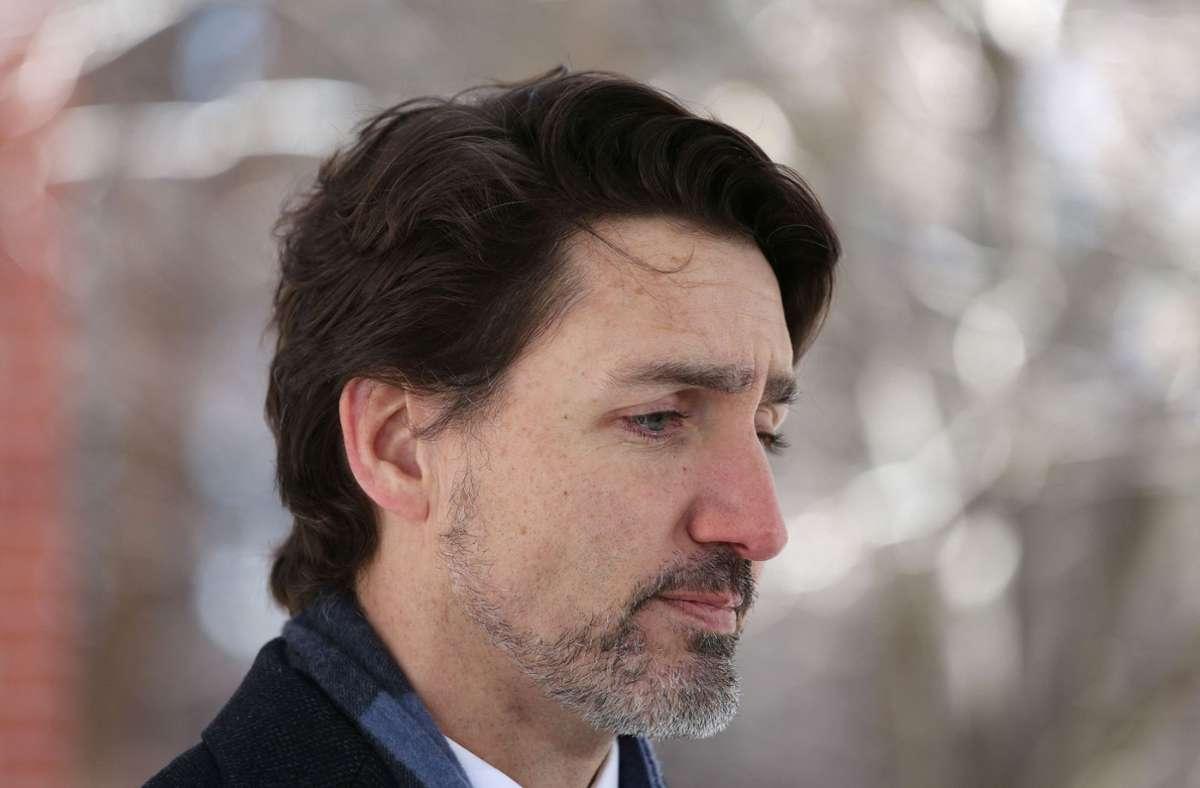 Kanadas Premierminister Justin Trudeau ist bestürzt. Foto: AFP/DAVE CHAN