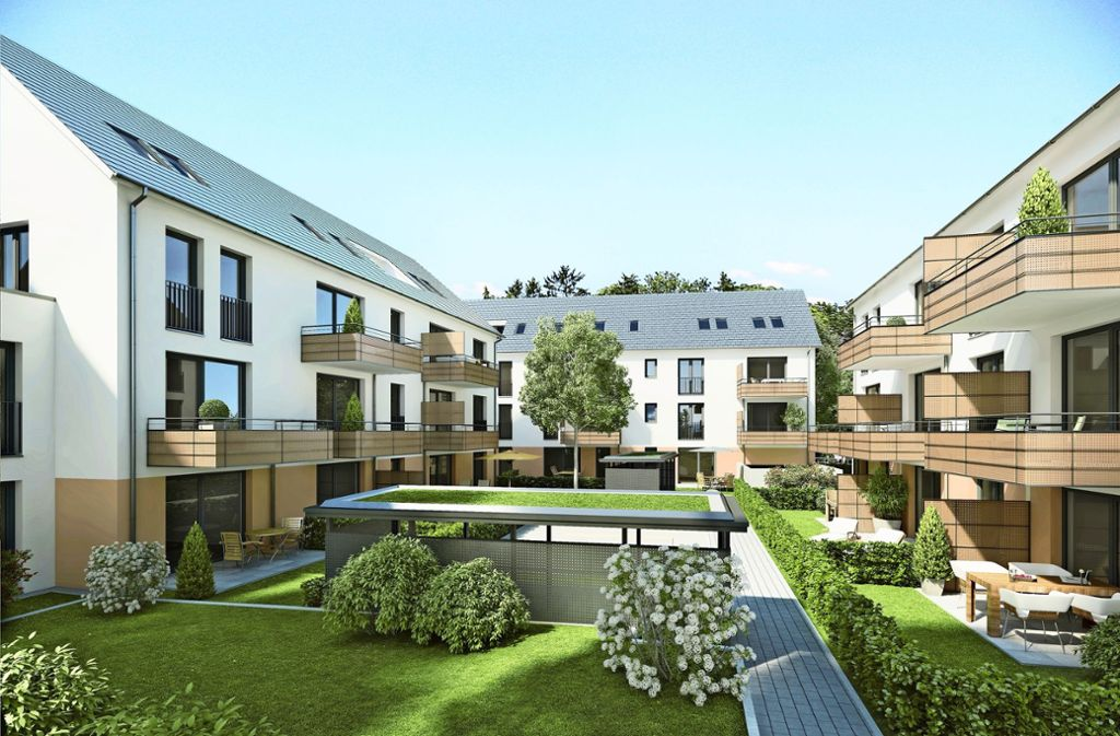 So stellen die Planer das Bauvorhaben an der Klagenfurter Straße in Feuerbach dar. Dort entstehen  28 Mietwohnungen. Einzug ist 2020 vorgesehen. Foto: SWSG