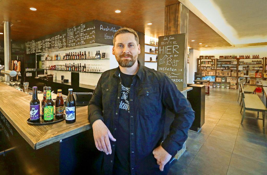Thorsten Schwämmle will mit seinem Kraftpaule Craft-Beer in Böblingen bekannt machen. Foto: factum/Granville