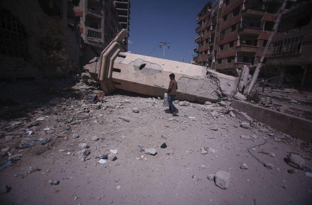 Der Krieg hat auch die Heimat von Feras zerstört. Der junge Flüchtling will auch nach dem Kriegsende nicht mehr zurück. Foto: EPA