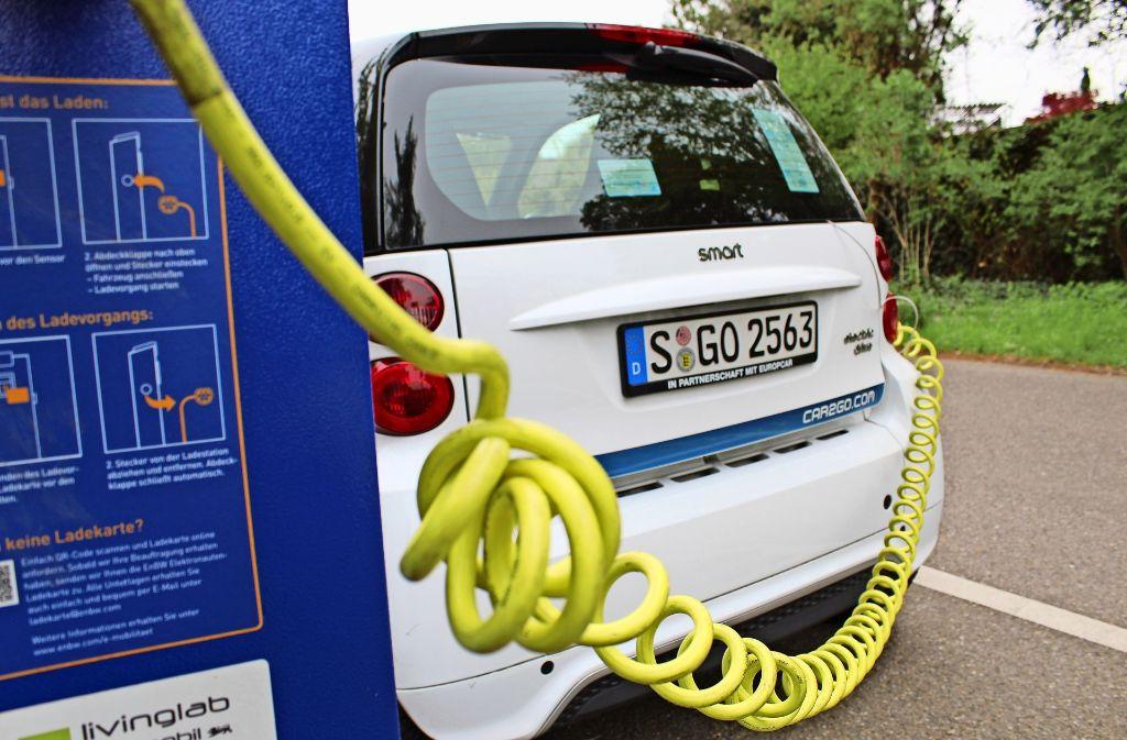 Die Ladestationen der Car2go-Smarts werden von der EnBW betrieben. Foto: Jacqueline Fritsch