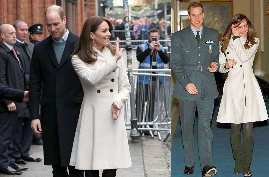 Zwischen diesen Bildern liegen zwölf Jahre: Herzogin Kate 2020 in Dublin (links) und 2008 bei Williams Abschlussfeier bei der Royal Air Force. Foto: AFP/dpa