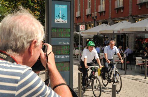 Weitere Säule zählt Radfahrer in Stuttgart