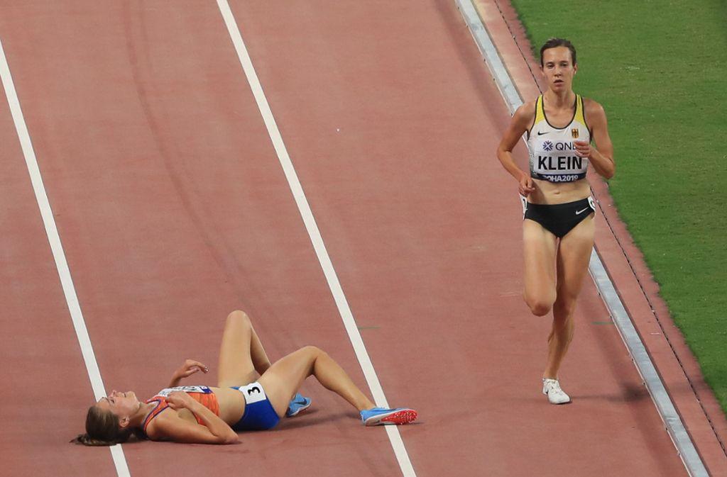 Hanna Klein beendet die WM auf Platz 18 über 5000 Meter. Foto: AFP/Mustafa Abumunes