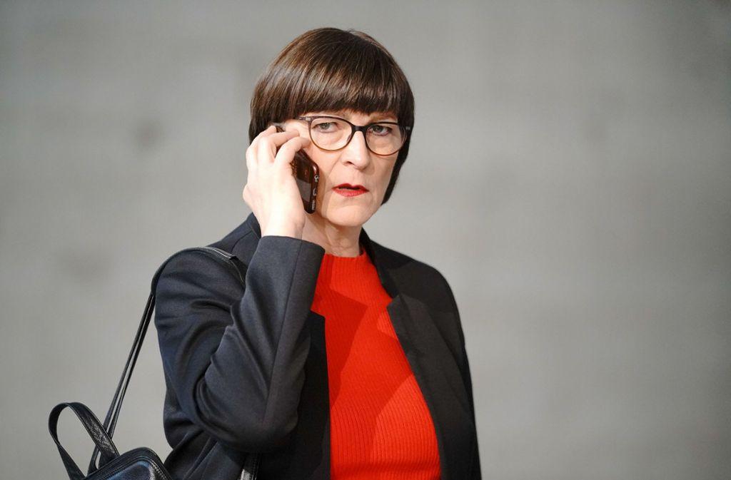 Saskia Esken macht dem Koalitionspartner Angebote. Foto: dpa/Michael Kappeler