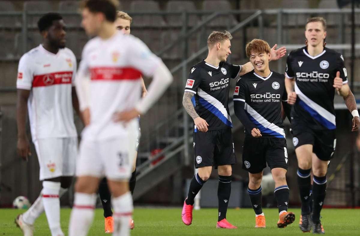 Der VfB Stuttgart hat mit 3:0 bei Arminia Bielefeld verloren. Foto: dpa