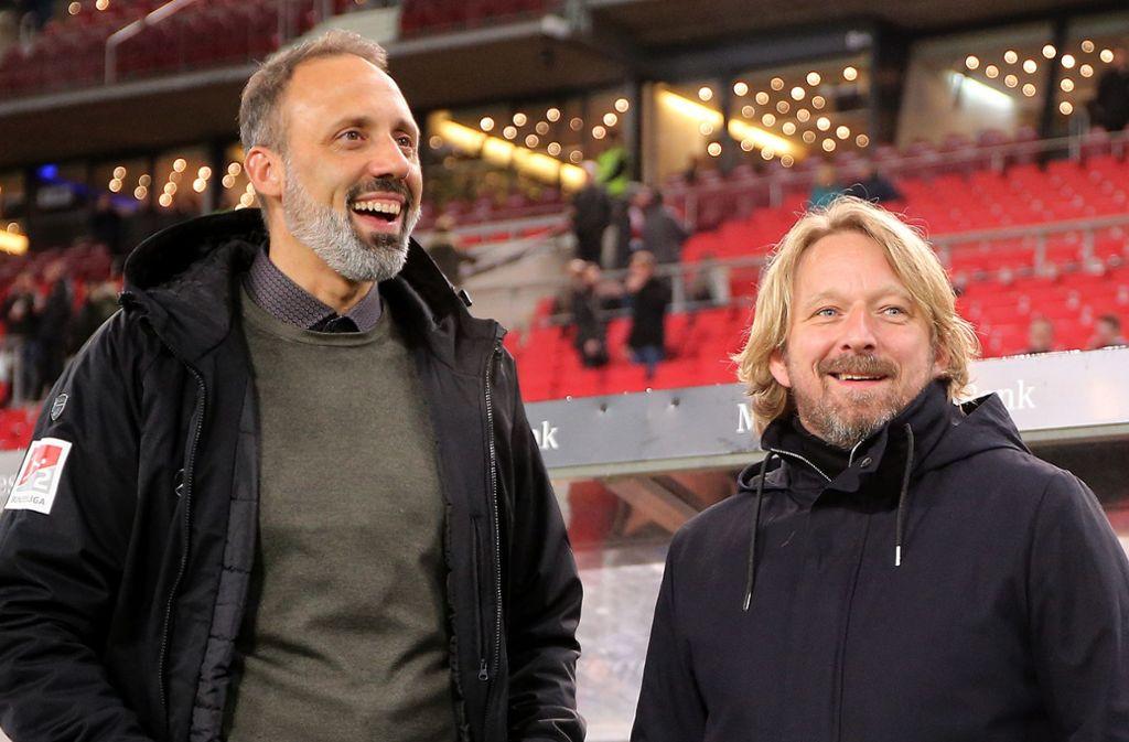 Die sportlichen Entscheider beim VfB Stuttgart haben viele Aufgaben vor sich. Auf Pellegrino Matarazzo und Sven Mislintat (v.l.n.r.) kommt zusammen mit Thomas Hitzlsperger einiges an Arbeit zu. Foto: Pressefoto Baumann