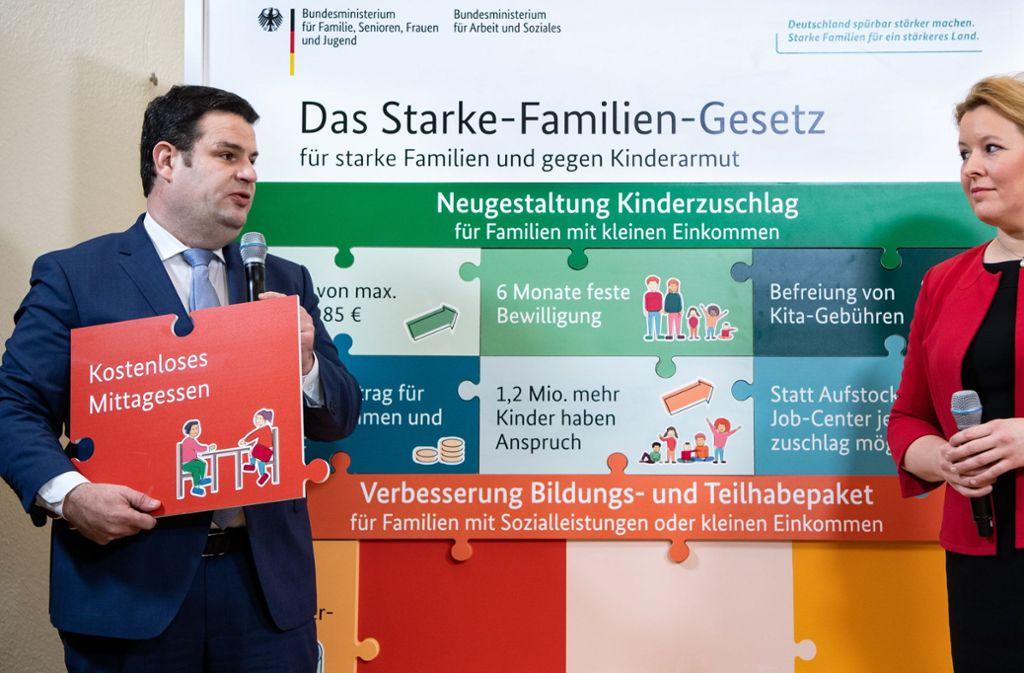 Erst am vergangenen Mittwoch haben die beiden SPD-Regierungsmitgleider Hubertus Heil und Franziska Giffey den neuen Gesetzentwurf präsentiert, der Familien mit geringeren Einkommen helfen soll. Foto: dpa