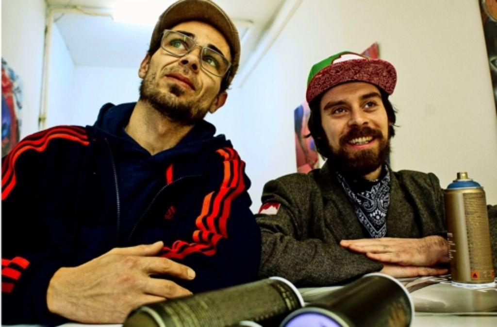 Die Sprayer Jeroo (links) und Daniel Geiger freuen sich auf den Workshop. Foto: Lg/Kovalenko