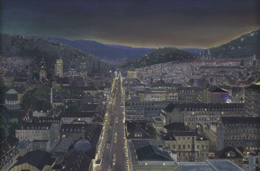 """Ausschnitt aus dem Gemälde """"Aussicht vom Bahnhofsturm"""" mit dem Tagblatt-Turm im Hintergrund von Reinhold Nägele. Foto: Kunstmuseum Stuttgart"""