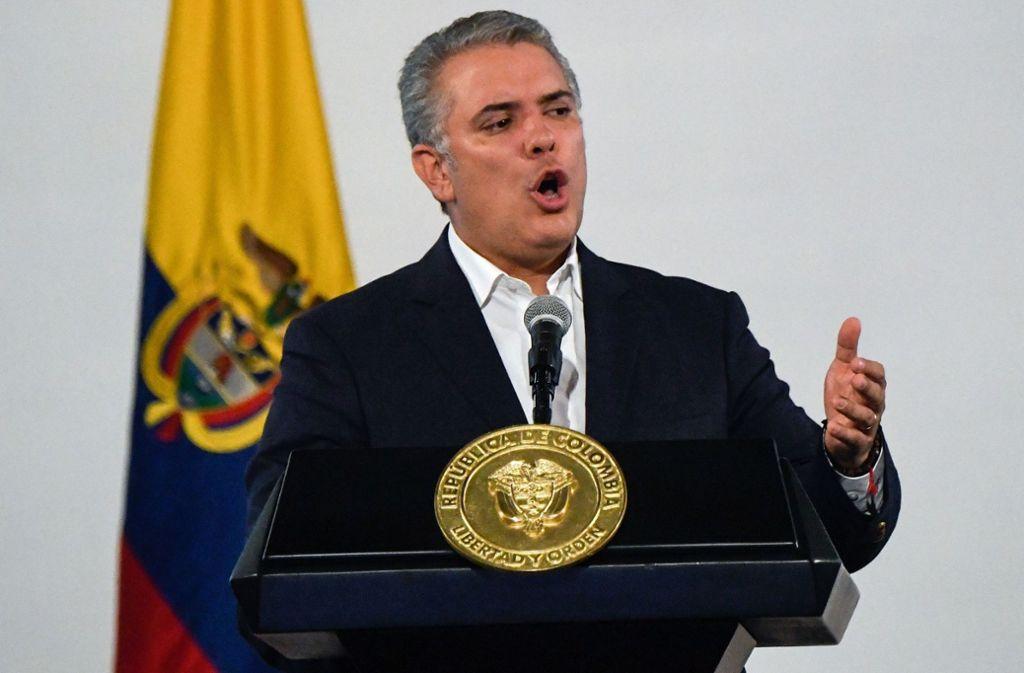 Ivan Duque, der Präsident von Kolumbien, sprach auf dem Weltwirtschaftsforum in Davos. (Archivbild) Foto: AFP/JUAN BARRETO
