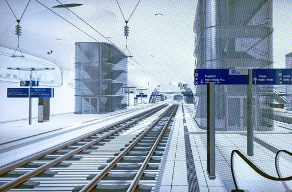 Die Fluchttreppenhäuser werden heller als in der Animation dargestellt, verspricht die Bahn. Und der Mindestabstand zwischen Treppenhaus und Bahnsteigkante werde eingehalten. Die Geschichte des Bahnprojekts dokumentieren wir in der folgenden Bilderstrecke. Foto: Achim Zweygarth