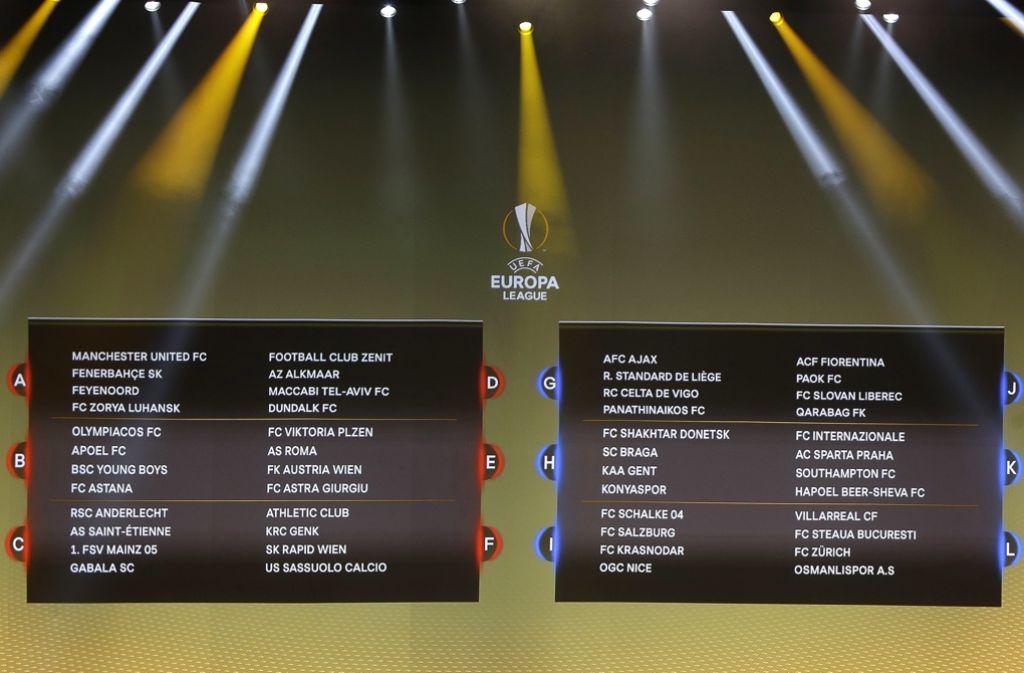 Europa League Gruppen Tabelle