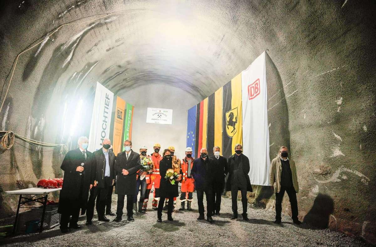 Großer Bahnhof unter der Erde: Offizielle Feier zum Durchschlag des Rosensteintunnels im Zuge des Projekts Stuttgart 21. Foto: Lichtgut/Max Kovalenko