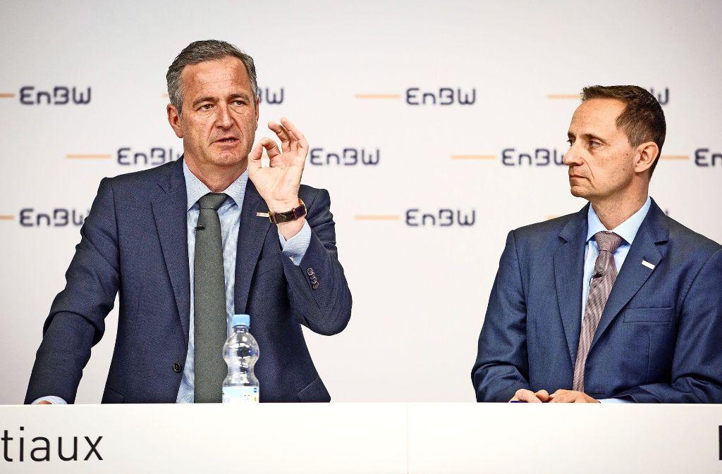 EnBW-Chef Frank Mastiaux und Finanzchef Thomas Kusterer haben bei der Bilanzpressekonferenz Ende März Verwirrung gestiftet. Foto: dpa