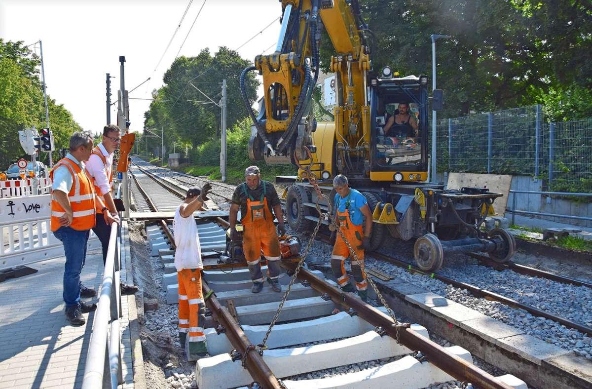 Gleisbauarbeiten auf der gesperrten Stadtbahnstrecke zwischen Wolfbusch und Gerlingen: Meter für Meter kommt der Bautrupp voran. Am Freitag soll alles fertig sein.Fotos: Petra Mostbacher-Dix Foto: