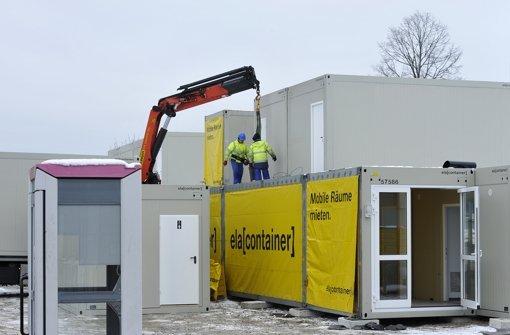 In Gundelfingen (Baden) werden die Wohncontainer angeliefert. Foto: Thomas Kunz