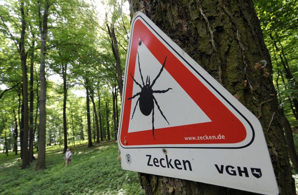 Vor Zecken wird mit einem Schild in einem Waldgebiet südlich von Hannover gewarnt. Foto: dpa