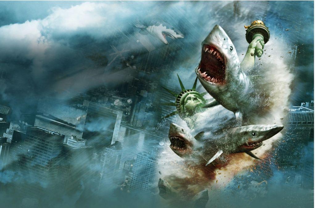 Fliegende Haie, laute Schreie, Blut – das sind die Ingredienzien des Trash-Hits 'Sharknado. Foto: Verleih
