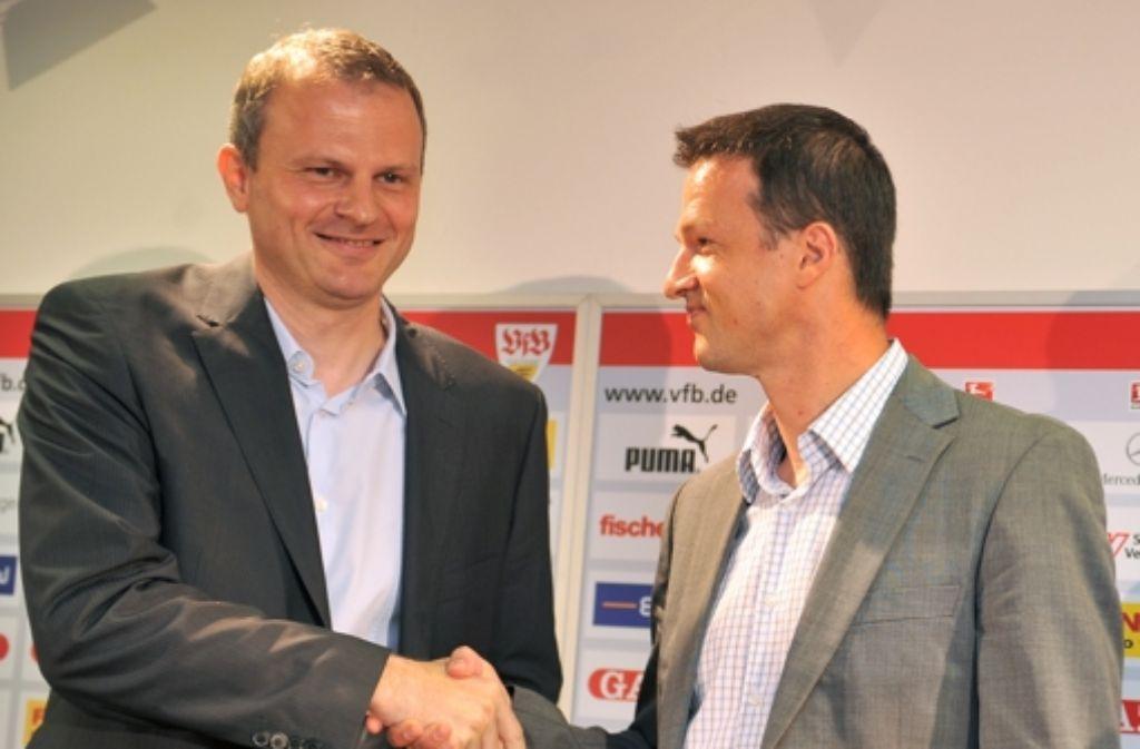 Alte VfB-Zeiten: Jochen Schneider (links) mit Fredi Bobic Foto: dpa