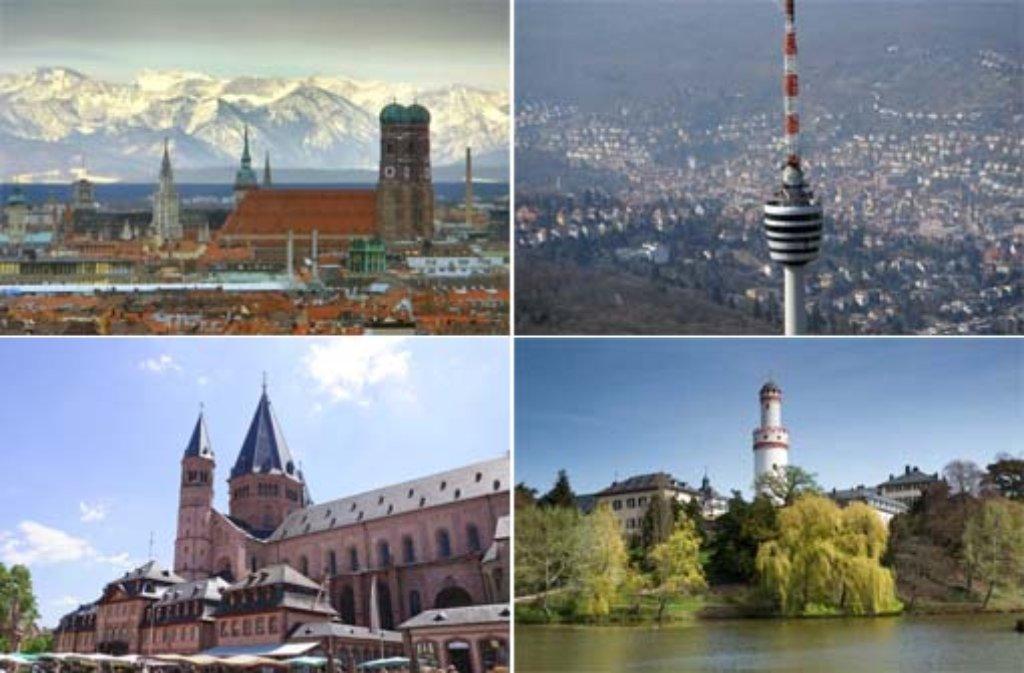 Die Bildergalerie gibt einen Überblick über die Top Ten der teuersten Städte für Mieter in Deutschland (von links oben im Uhrzeigersinn: München, Stuttgart, Bad Homburg und Mainz) - klicken Sie sich durch! Foto: dpa/Shutterstock/Jo Chambers/Scirocco340/SIR-Montage