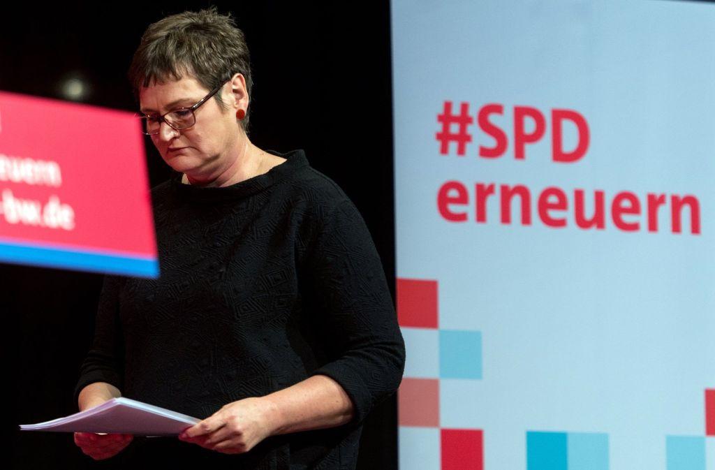 Landesvorsitzende Leni Breymaier würde die SPD lieber in der Opposition erneuern statt in einer erneuten Großen Koalition auf Bundesebene. Foto: dpa