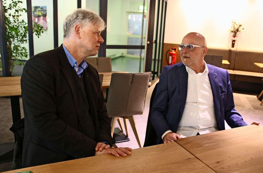 Wolfgang Faßbender (links) und Ralf Schröder setzen sich für Gewerbetreibenden in Leinfelden-Echterdingen ein. Foto: Natalie Kanter