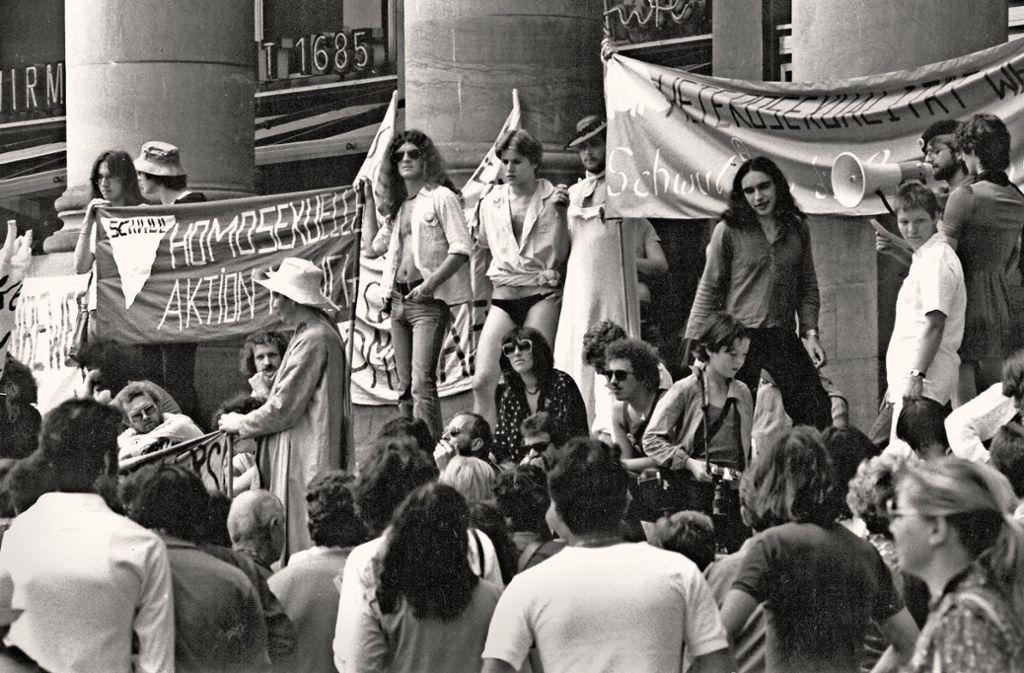 Am Königsbau wurde 1979 für die Abschaffung  des Paragrafen 175 demonstriert. Foto: Kraufmann