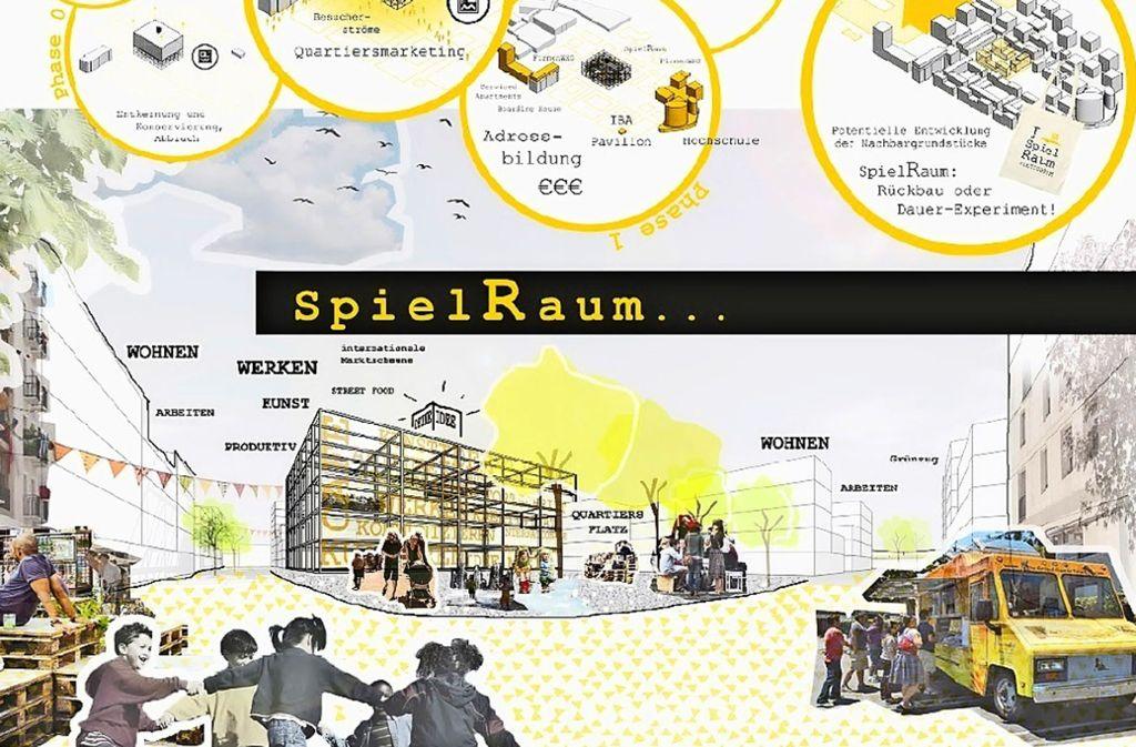 """Aus einem Hochregallager wird in diesem Entwurf ein zentraler experimenteller """"Spielraum"""". Foto: Noma Architekten"""