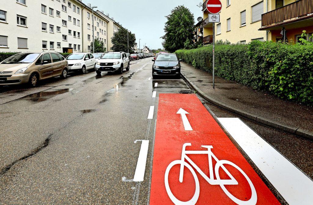 Auf Konfrontationskurs mit parkenden Autos: Der neue Radweg in der Hindenburgstraße. Foto: factum/