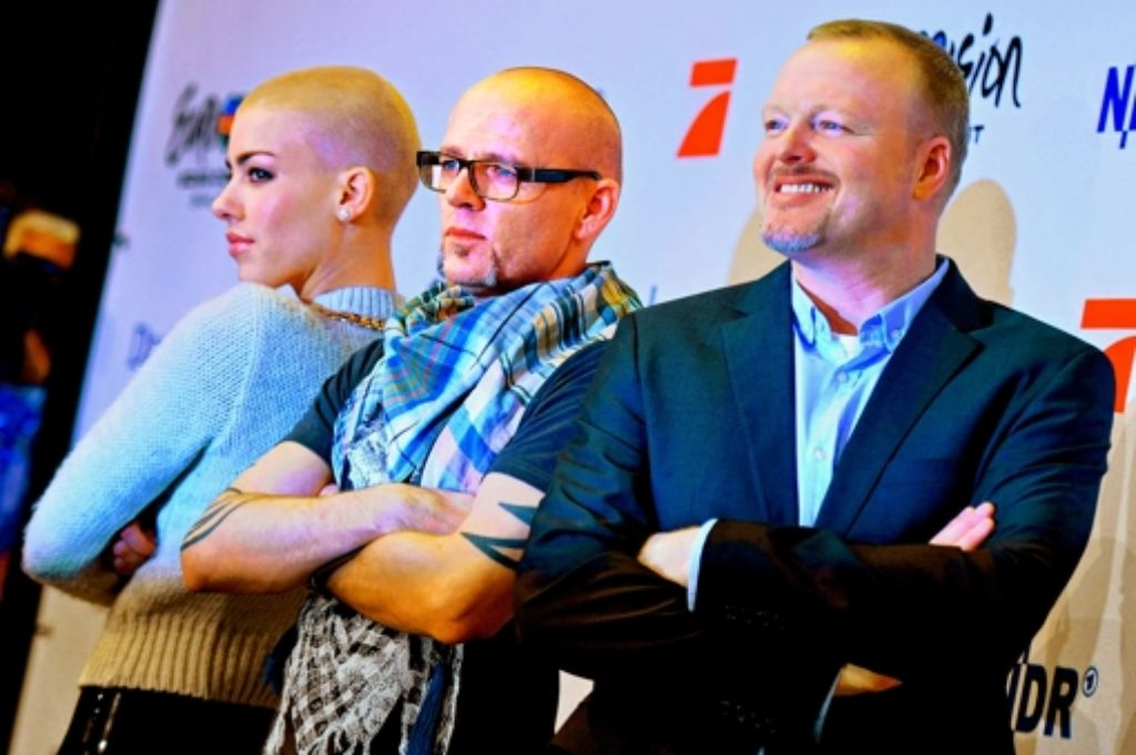 Die ESC-Jury: Alina Süggeler, Thomas D und Stefan Raab (von links) Foto: dpa