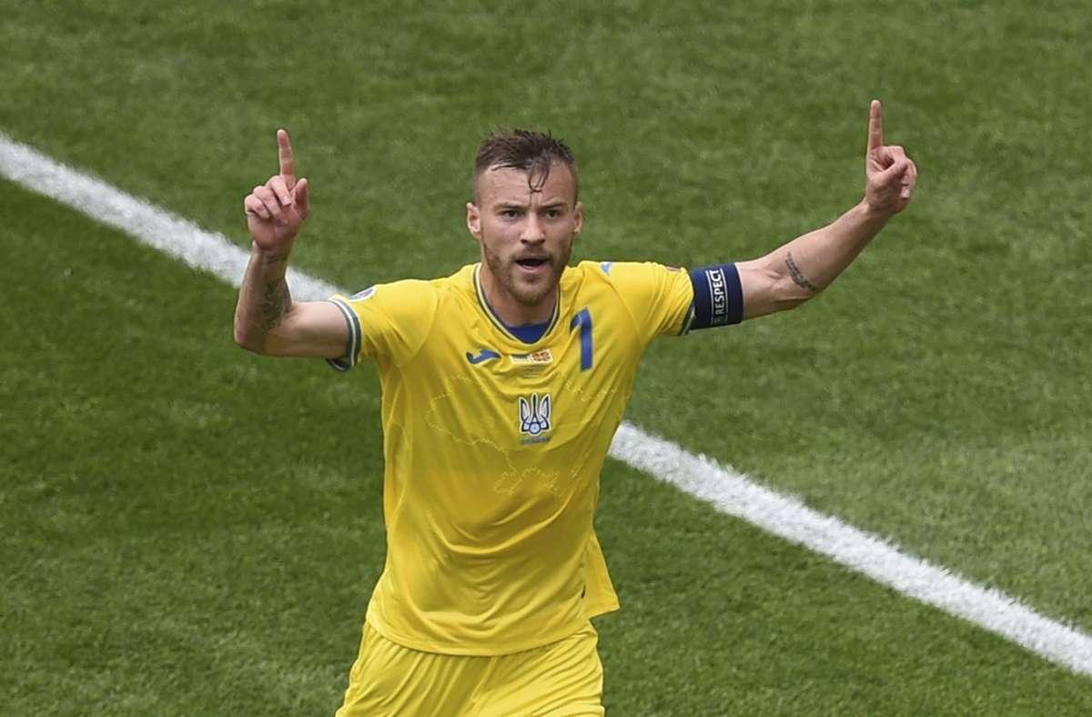 Andriy Yarmolenko erzielte gegen Nordmazedonien bereits seinen zweiten Turniertreffer. Foto: dpa/Mihai Barbu