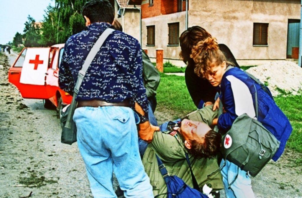Borovo Selo in ein Krankenhaus gebracht. Foto: AFP