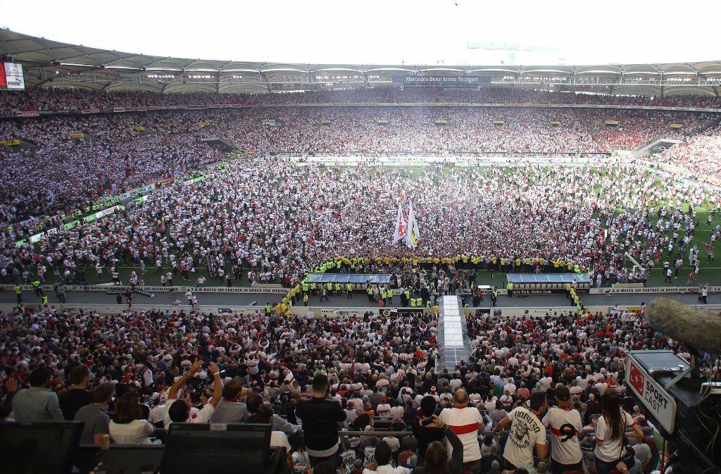Die Mercedes-Benz-Arena am Tag des Aufstiegs des VfB Stuttgart. Foto: Pressefoto Baumann