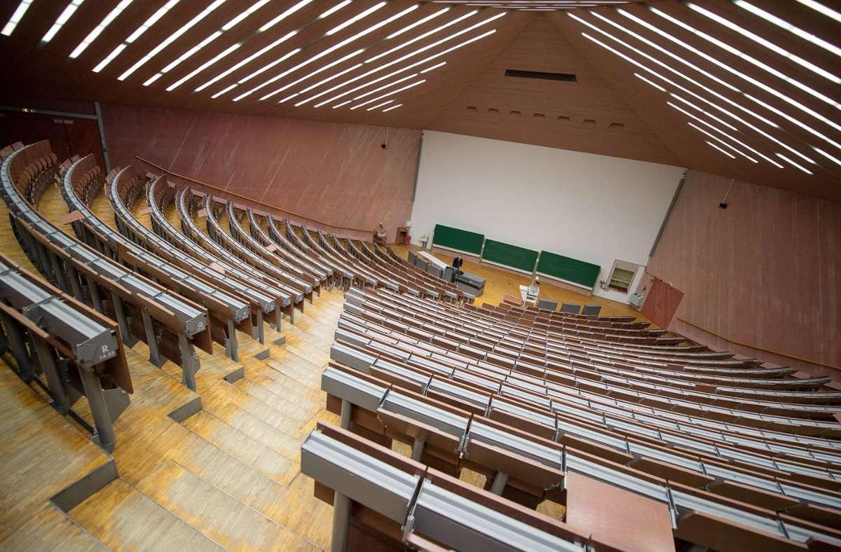Die Hörsäle der Universitäten und Hochschulen im Land blieben im letzten Semester leer. Foto: Sebastian Gollnow/dpa/Sebastian Gollnow