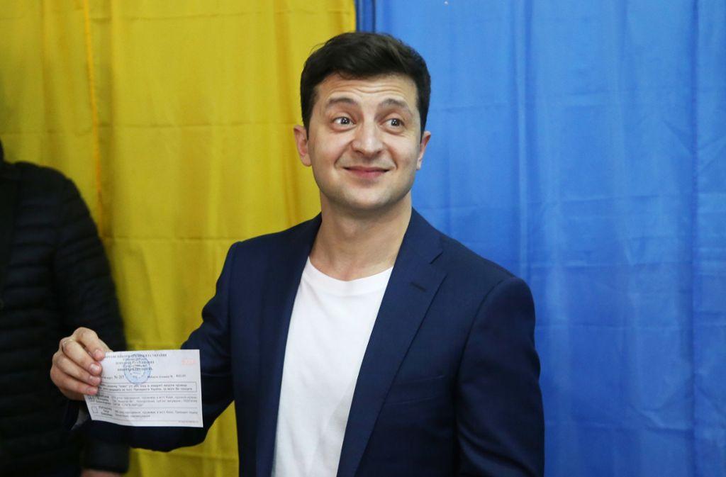 Der Komiker Wolodymyr Selenskyj hat laut Nachwahlbefragungen die Stichwahl um das Präsidentenamt in der Ukraine klar gewonnen. Foto: XinHua