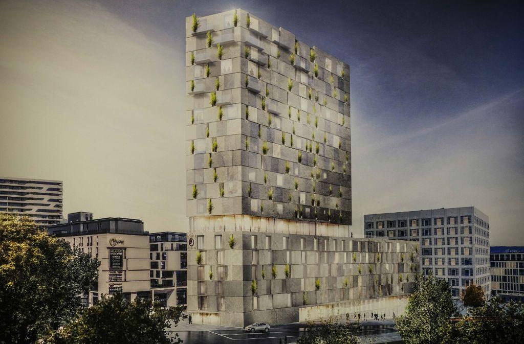 Der Siegerentwurf des Düsseldorfer Büros RKW Architektur + für den Turm am Mailänder Platz. In den Sockelbau soll ein Hotel einziehen. Foto: Lichtgut/Leif Piechowski