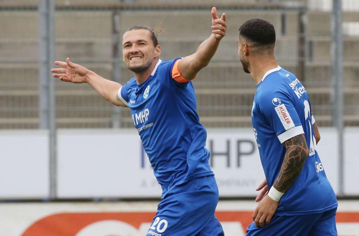 Mijo Tunjic war gegen den 1. FC Rieslasingen-Arlen der Mann des Spiels. Foto: Pressefoto Baumann/Hansjürgen Britsch