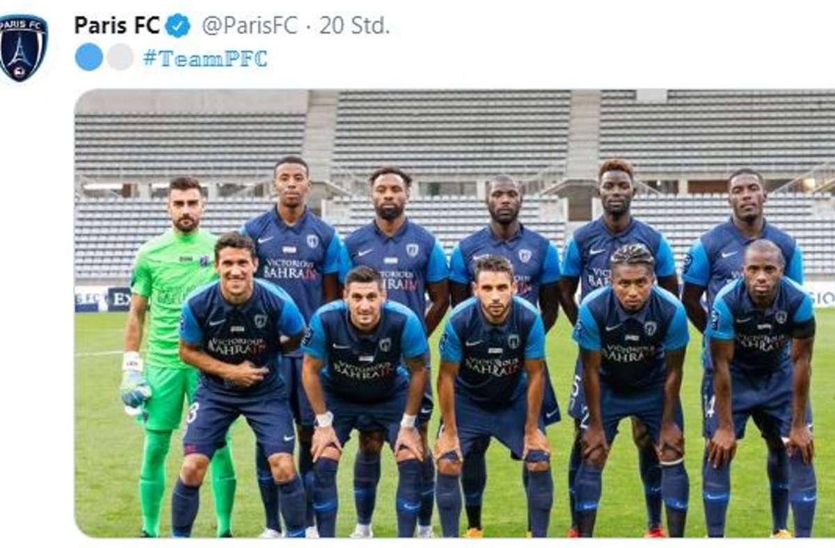Die Mannschaft des Paris FC will in die erste französische Fußballliga. Mit einer Geldspritze auch Bahrain soll dieses Ziel gelingen. Foto: Screenshot/Twitter