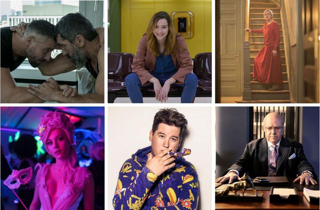 """""""Skylines"""", """"Frau Jordan stellt gleich"""", """"The Handmaid's Tale 3"""", """"The Loudest Voice"""", """"Chris Tall presents ..."""" und """"Elite 2"""" (von oben links im Uhrzeigersinn). Mehr Fotos zu unseren Streamingtipps finden Sie in unserer Bildergalerie. Foto: Netflix (2), Joyn, Hulu, Showtime, Amazon"""